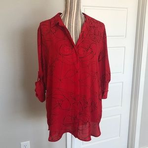 Mossimo Red Scribble Print Button Down Top NWT